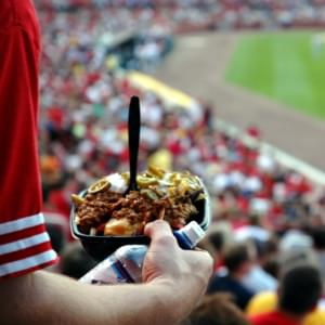 Snack food at a baseball game.