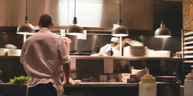 Kitchen staff working.