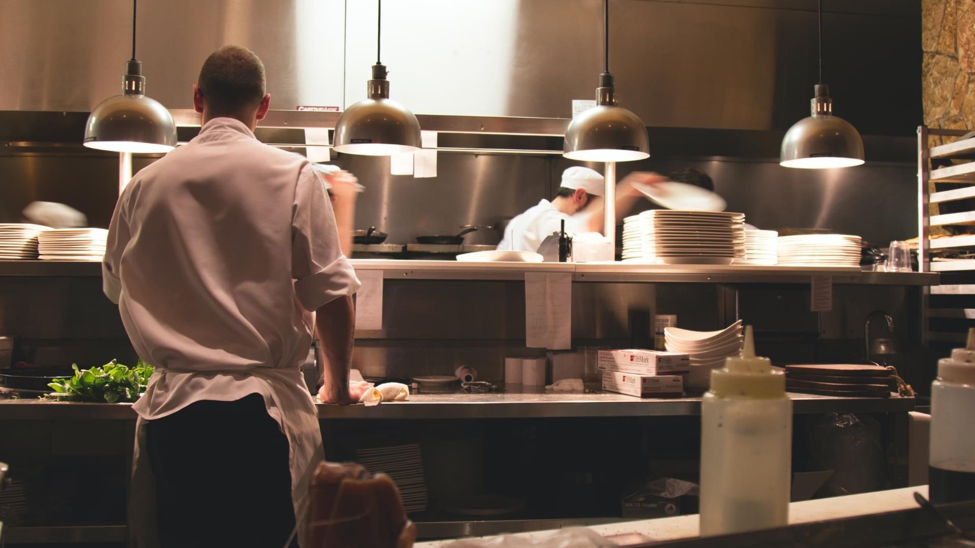 Chefs in a kitchen.