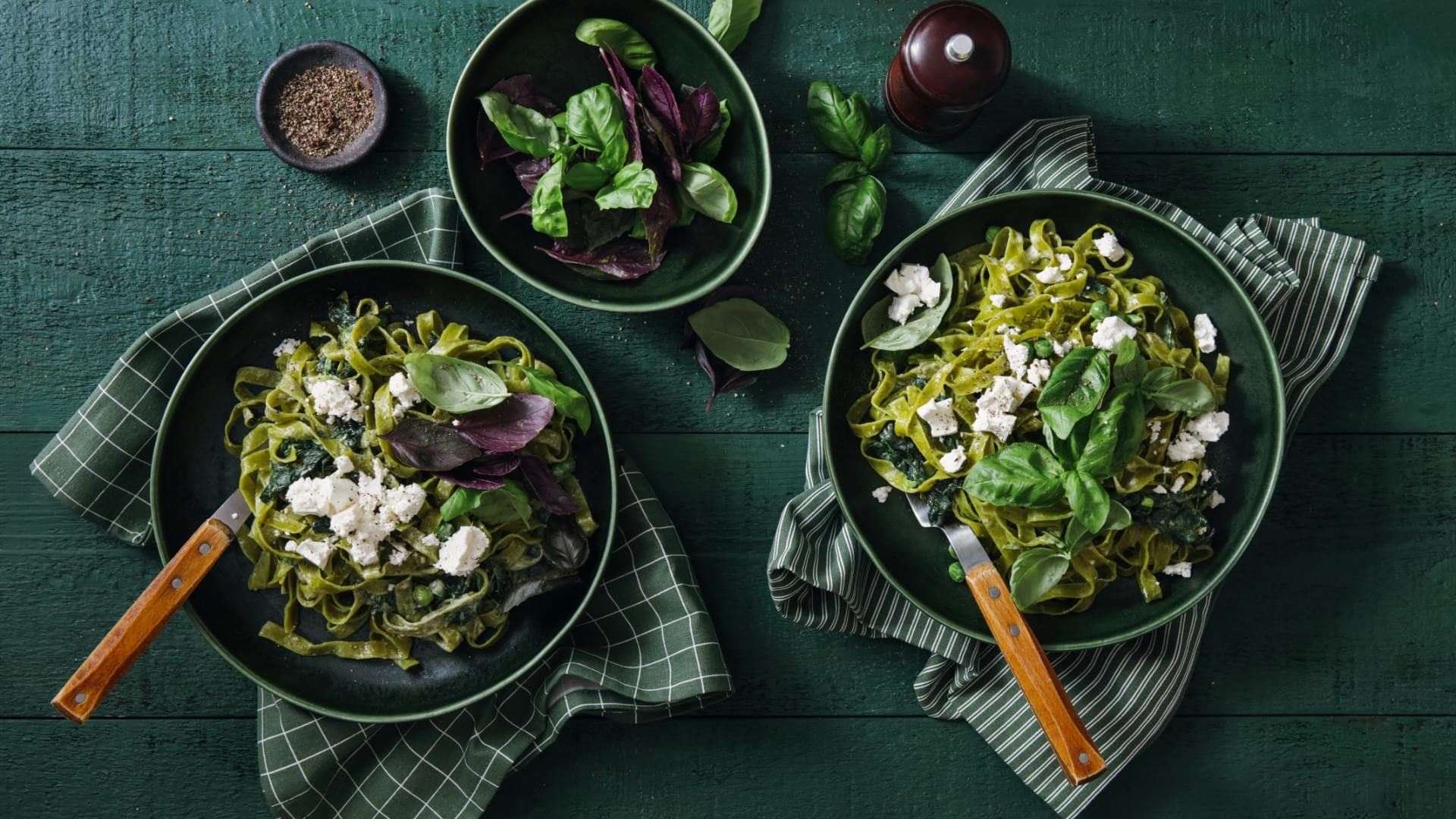 Spinach pasta with basil and feta.