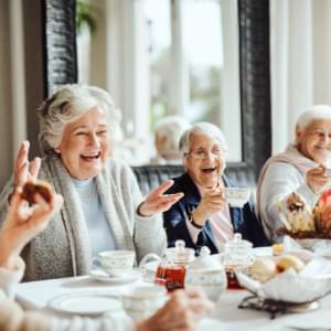 Retirees having tea.
